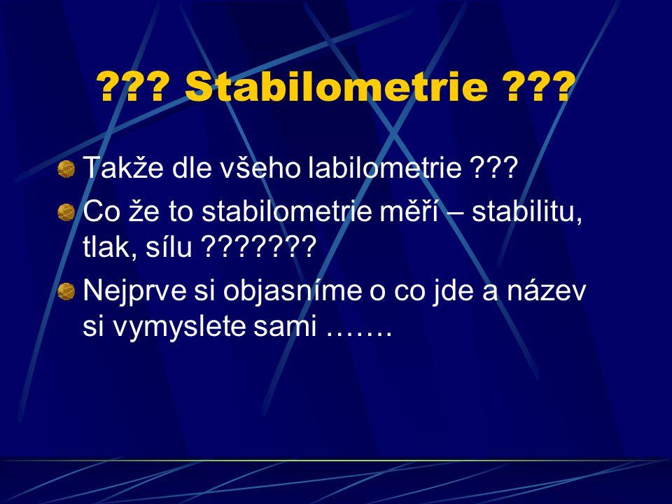 ??? Stabilometrie ??? Takže dle všeho labilometrie ??? Co že to stabilometrie měří – stabilitu, tlak, sílu ??????? Nejprve si objasníme o co jde a náz