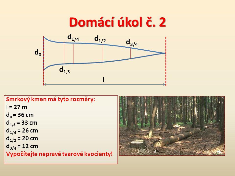 c) Kmenové profily = tloušťky kmene v určitých pravidelných odstupech (1-2 m) po celé délce kmene.
