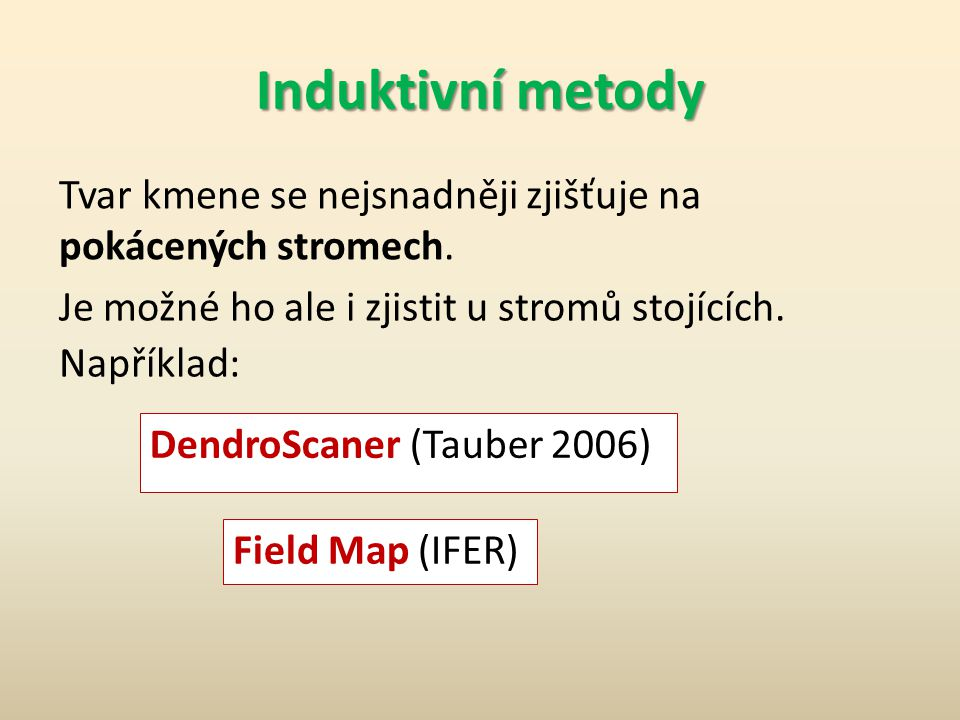 Domácí úkol č. 2 Smrkový kmen má tyto rozměry: l = 27 m d 0 = 36 cm d 1,3 = 33 cm d 1/4 = 26 cm d 1/2 = 20 cm d 3/4 = 12 cm Vypočítejte nepravé tvarov