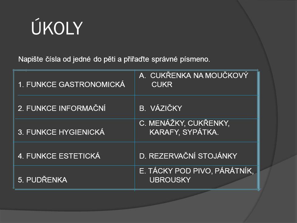ÚKOLY 1. FUNKCE GASTRONOMICKÁ A.CUKŘENKA NA MOUČKOVÝ CUKR 2.