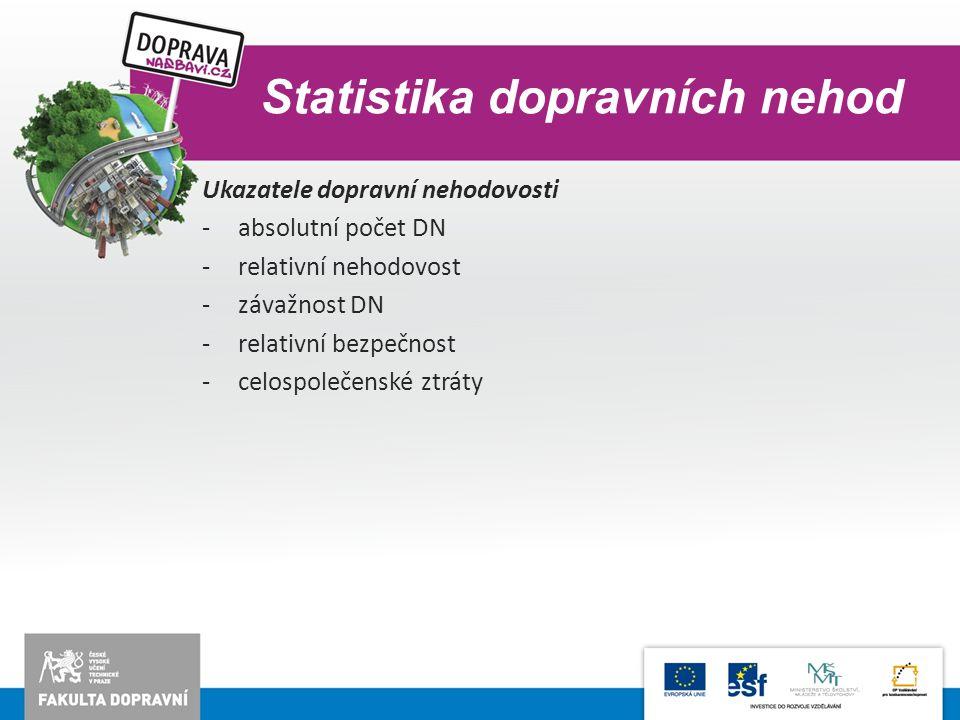 Statistika dopravních nehod Ukazatele dopravní nehodovosti -absolutní počet DN -relativní nehodovost -závažnost DN -relativní bezpečnost -celospolečen