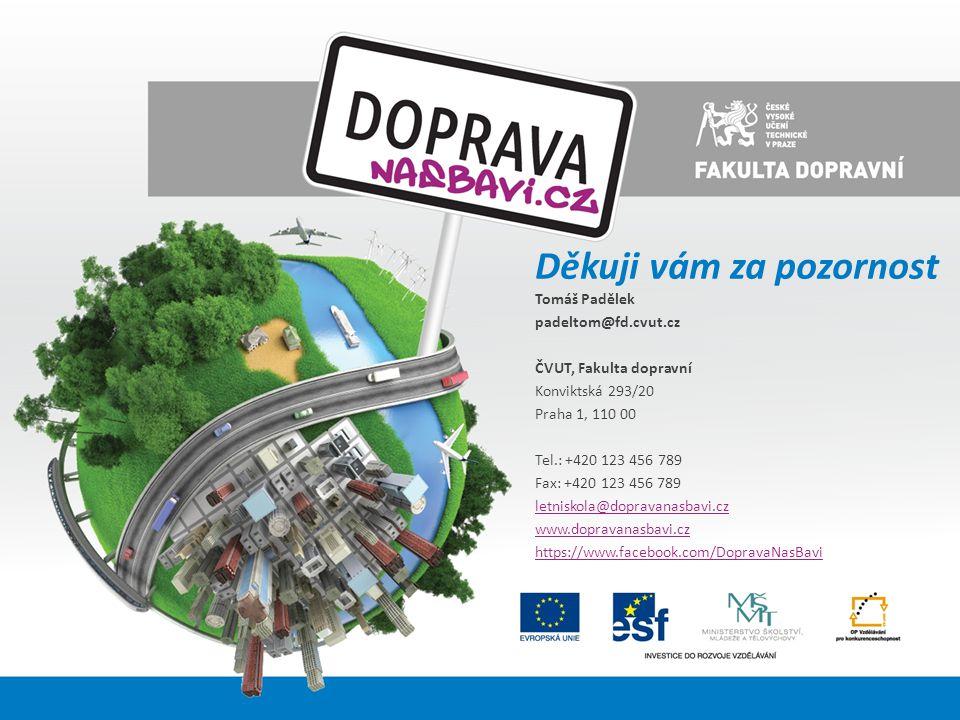 Děkuji vám za pozornost Tomáš Padělek padeltom@fd.cvut.cz ČVUT, Fakulta dopravní Konviktská 293/20 Praha 1, 110 00 Tel.: +420 123 456 789 Fax: +420 12
