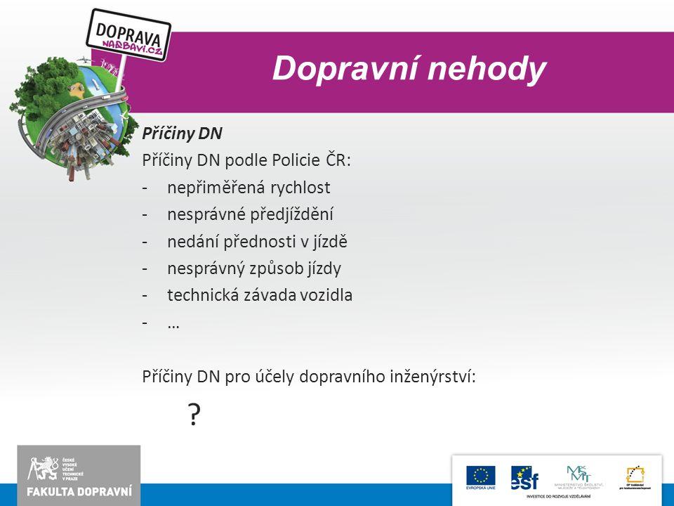 Dopravní nehody Příčiny DN Příčiny DN podle Policie ČR: -nepřiměřená rychlost -nesprávné předjíždění -nedání přednosti v jízdě -nesprávný způsob jízdy