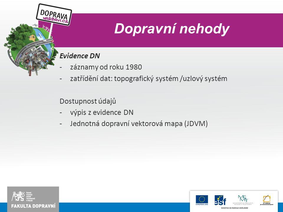 Dopravní nehody Evidence DN -záznamy od roku 1980 -zatřídění dat: topografický systém /uzlový systém Dostupnost údajů -výpis z evidence DN -Jednotná d