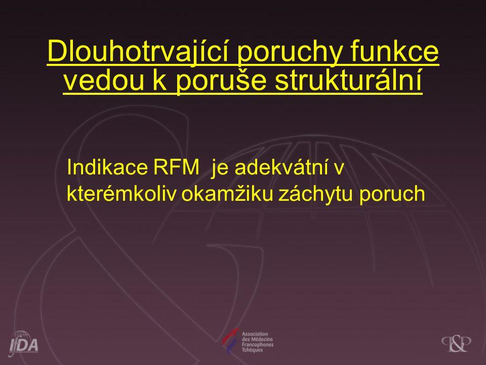 Dlouhotrvající poruchy funkce vedou k poruše strukturální Indikace RFM je adekvátní v kterémkoliv okamžiku záchytu poruch