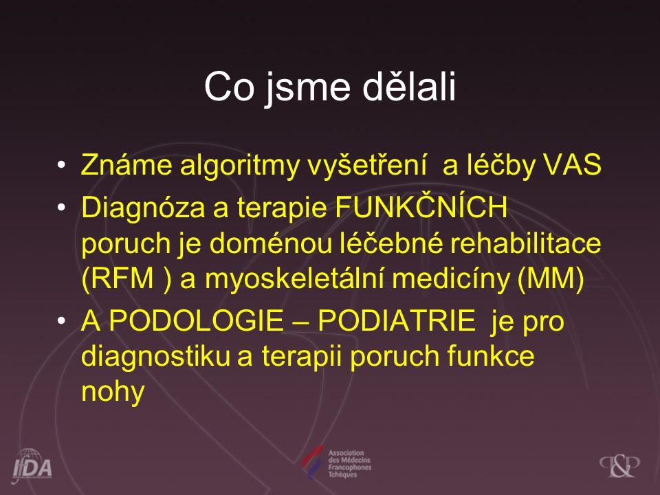 Co jsme dělali Známe algoritmy vyšetření a léčby VAS Diagnóza a terapie FUNKČNÍCH poruch je doménou léčebné rehabilitace (RFM ) a myoskeletální medicí