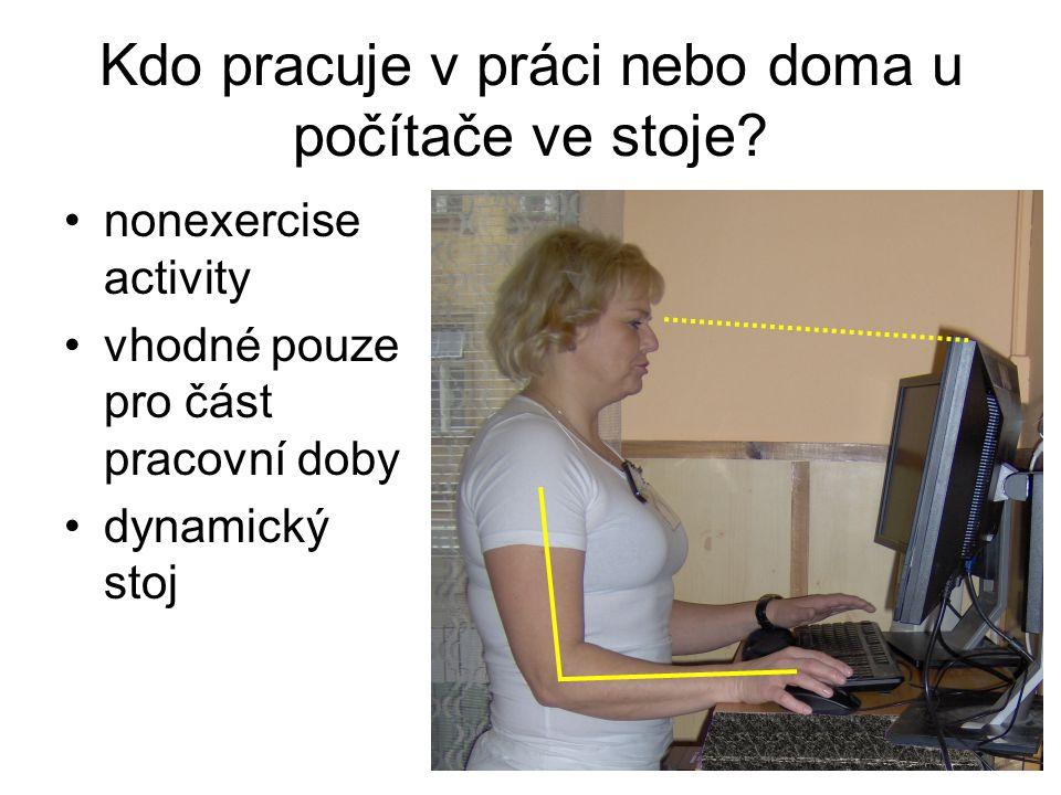 Kdo pracuje v práci nebo doma u počítače ve stoje? nonexercise activity vhodné pouze pro část pracovní doby dynamický stoj