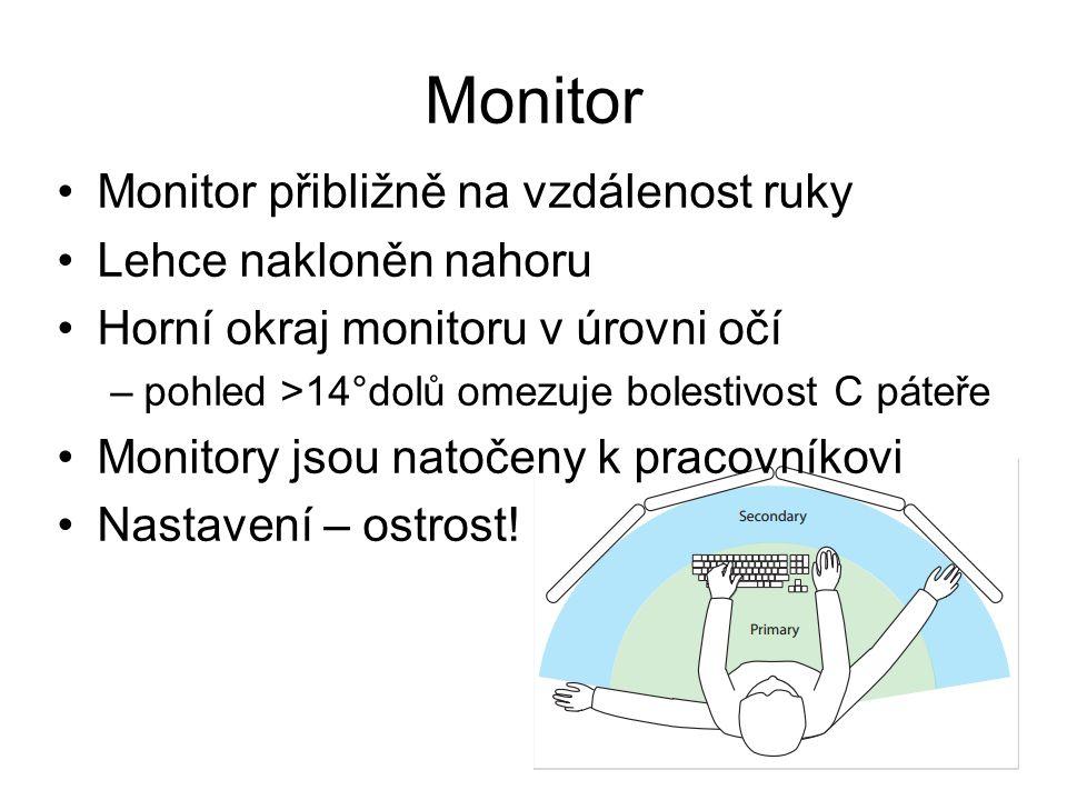 Monitor Monitor přibližně na vzdálenost ruky Lehce nakloněn nahoru Horní okraj monitoru v úrovni očí –pohled >14°dolů omezuje bolestivost C páteře Mon