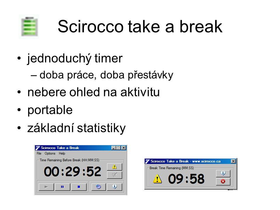 Scirocco take a break jednoduchý timer –doba práce, doba přestávky nebere ohled na aktivitu portable základní statistiky