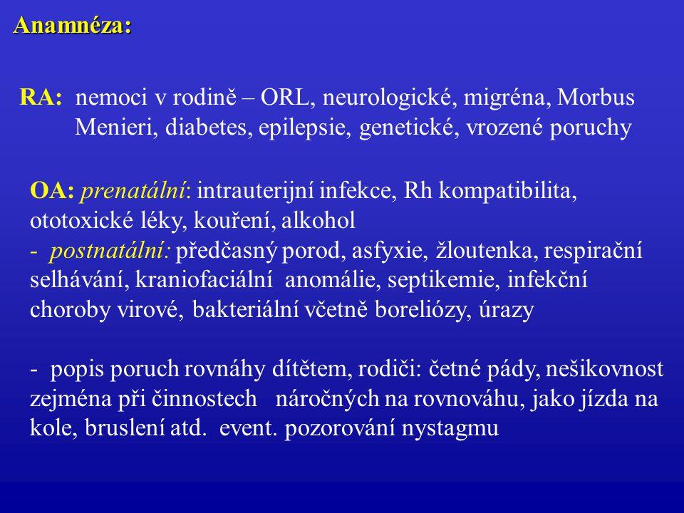 Anamnéza: RA: nemoci v rodině – ORL, neurologické, migréna, Morbus Menieri, diabetes, epilepsie, genetické, vrozené poruchy OA: prenatální: intrauteri