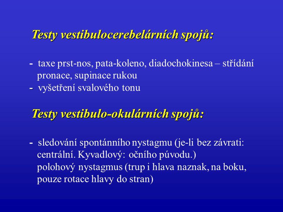 Testy vestibulocerebelárních spojů: Testy vestibulocerebelárních spojů: - taxe prst-nos, pata-koleno, diadochokinesa – střídání pronace, supinace ruko