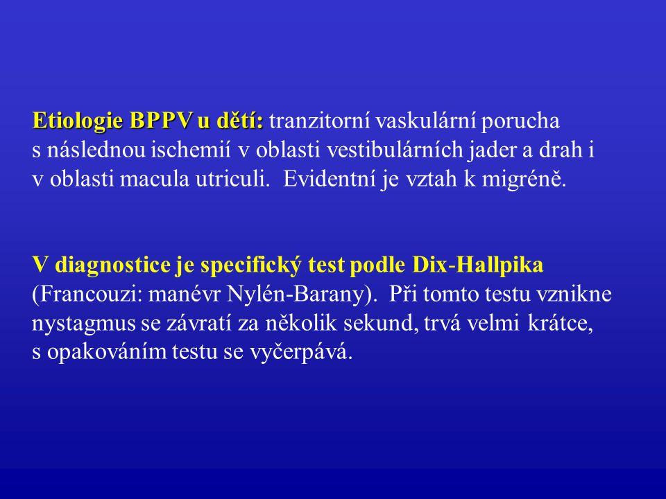 Etiologie BPPV u dětí: Etiologie BPPV u dětí: tranzitorní vaskulární porucha s následnou ischemií v oblasti vestibulárních jader a drah i v oblasti ma