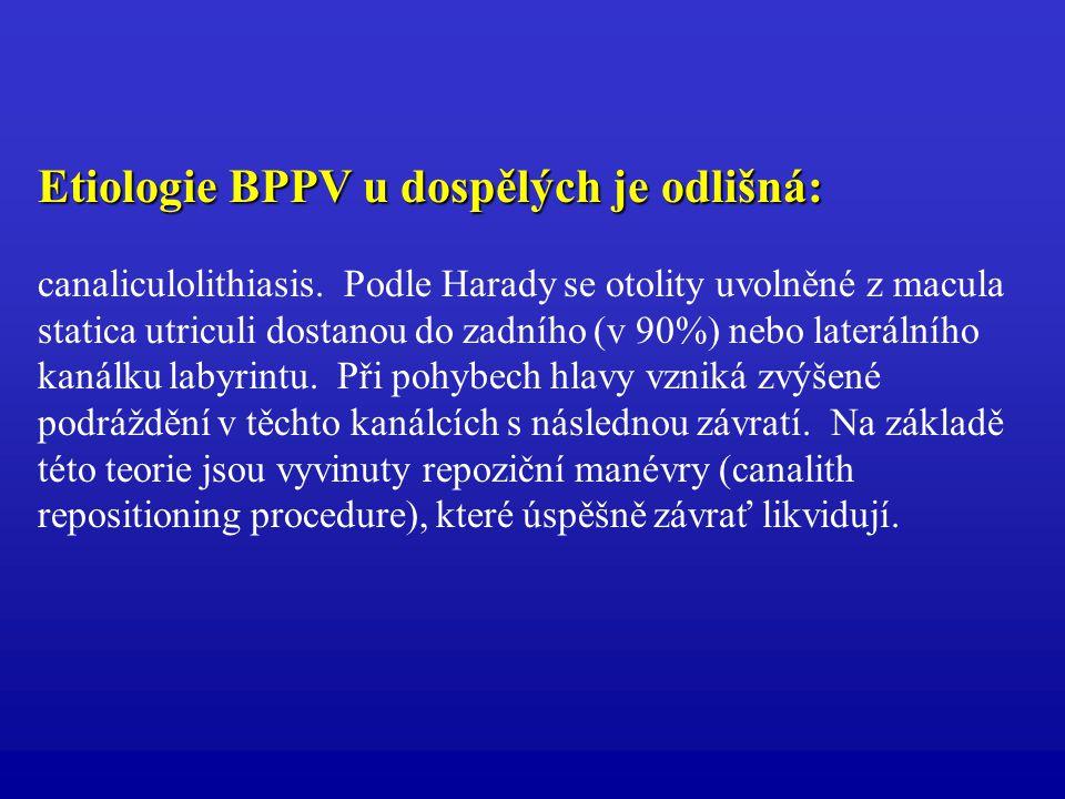 Etiologie BPPV u dospělých je odlišná: canaliculolithiasis. Podle Harady se otolity uvolněné z macula statica utriculi dostanou do zadního (v 90%) neb
