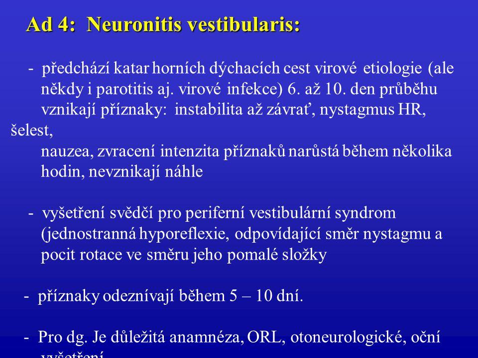 Ad 4: Neuronitis vestibularis: Ad 4: Neuronitis vestibularis: - předchází katar horních dýchacích cest virové etiologie (ale někdy i parotitis aj. vir