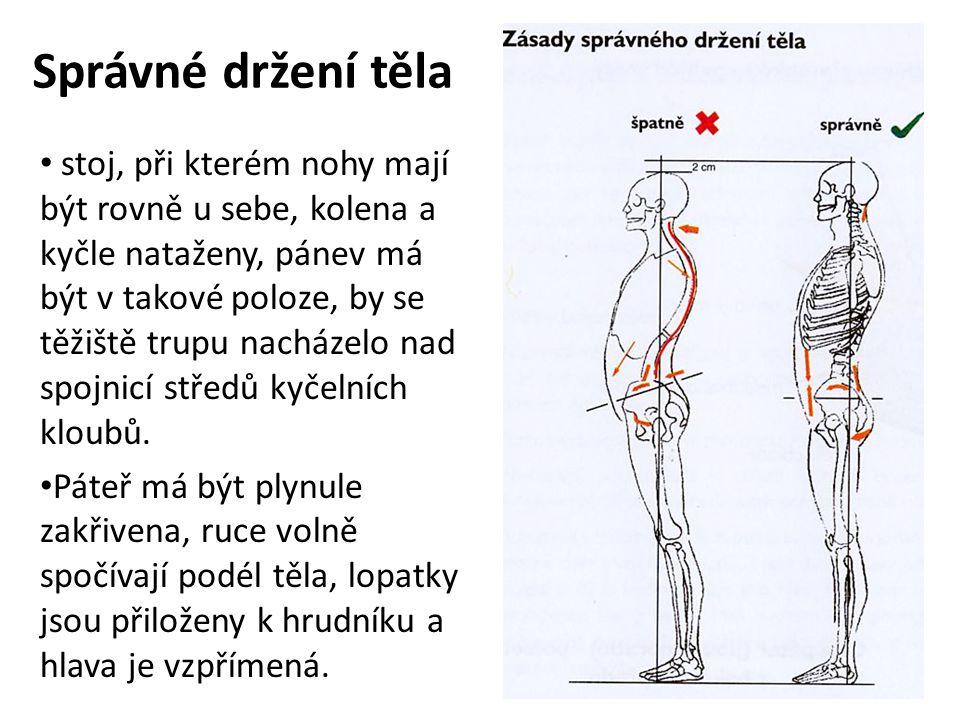 Správné držení těla stoj, při kterém nohy mají být rovně u sebe, kolena a kyčle nataženy, pánev má být v takové poloze, by se těžiště trupu nacházelo