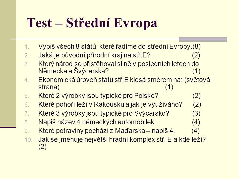 Test – Střední Evropa 1. Vypiš všech 8 států, které řadíme do střední Evropy.(8) 2. Jaká je původní přírodní krajina stř.E? (2) 3. Který národ se přis