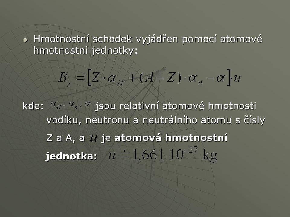  Hmotnostní schodek vyjádřen pomocí atomové hmotnostní jednotky: kde: jsou relativní atomové hmotnosti vodíku, neutronu a neutrálního atomu s čísly v