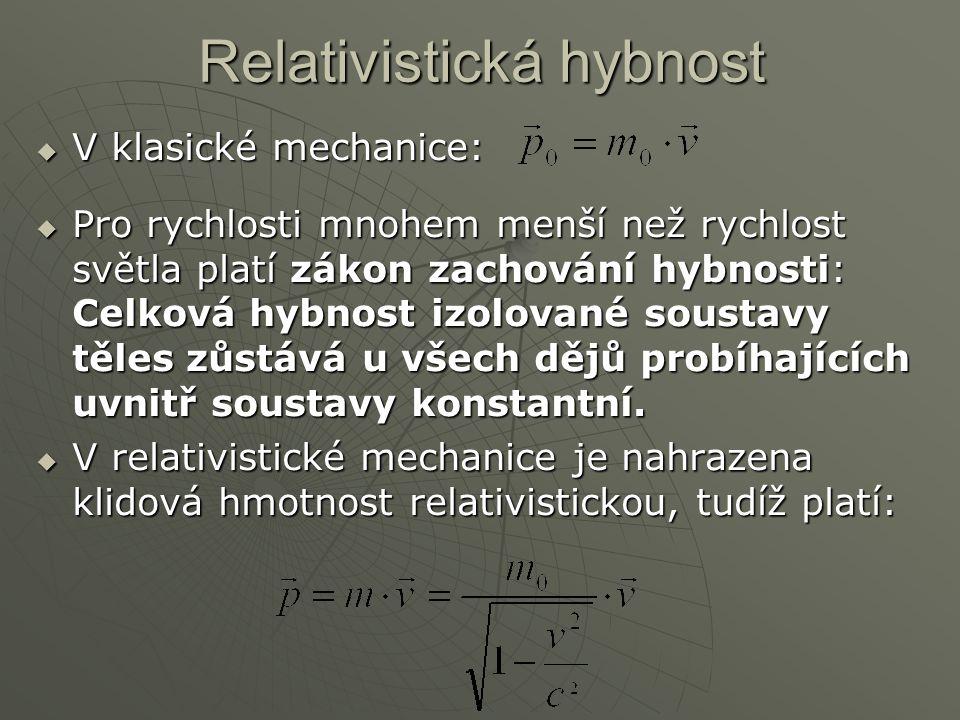 Relativistická hybnost  V klasické mechanice:  Pro rychlosti mnohem menší než rychlost světla platí zákon zachování hybnosti: Celková hybnost izolov