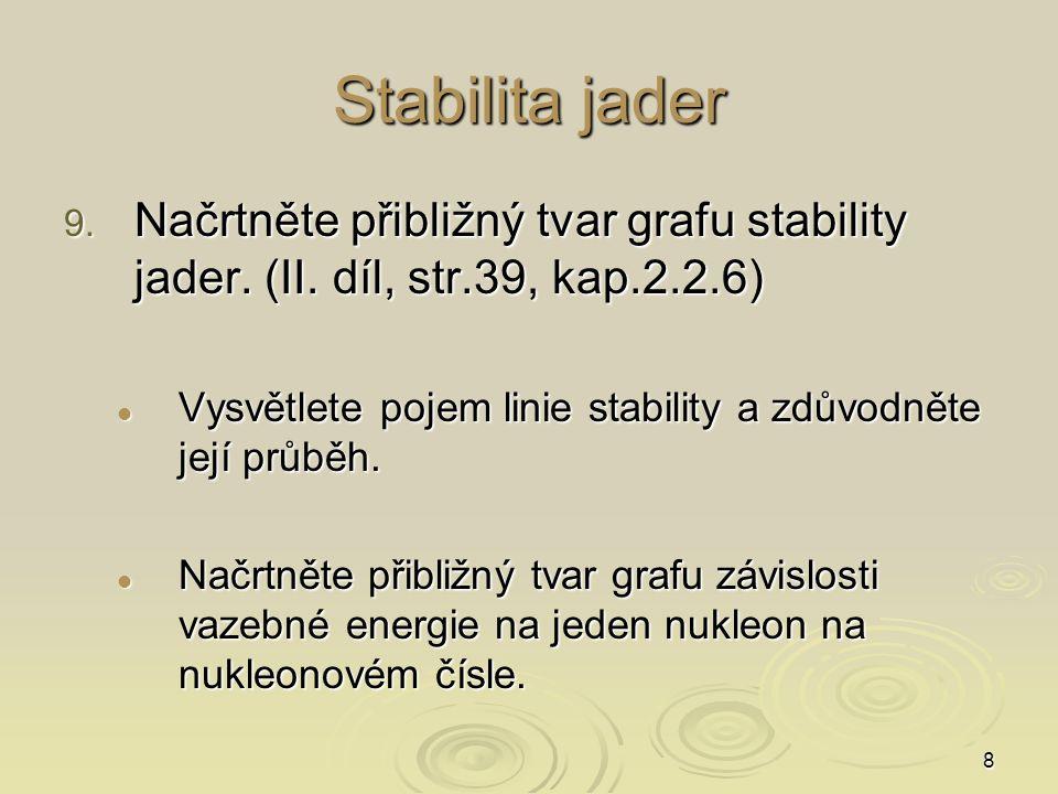 8 Stabilita jader 9. Načrtněte přibližný tvar grafu stability jader. (II. díl, str.39, kap.2.2.6) Vysvětlete pojem linie stability a zdůvodněte její p