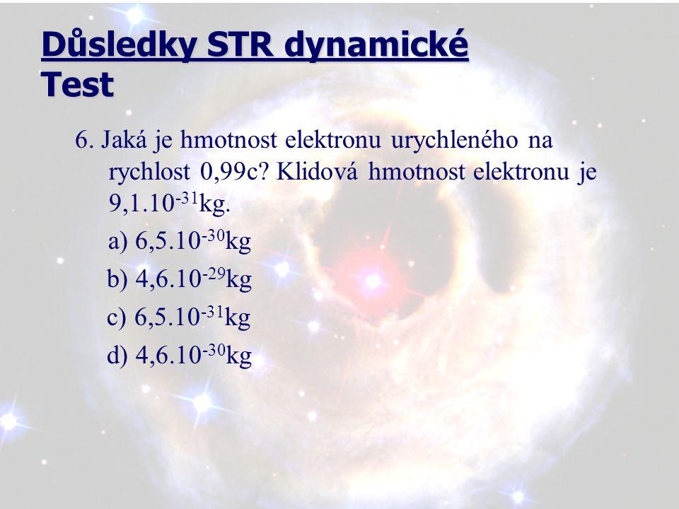 Důsledky STR dynamické Test 6. Jaká je hmotnost elektronu urychleného na rychlost 0,99c.