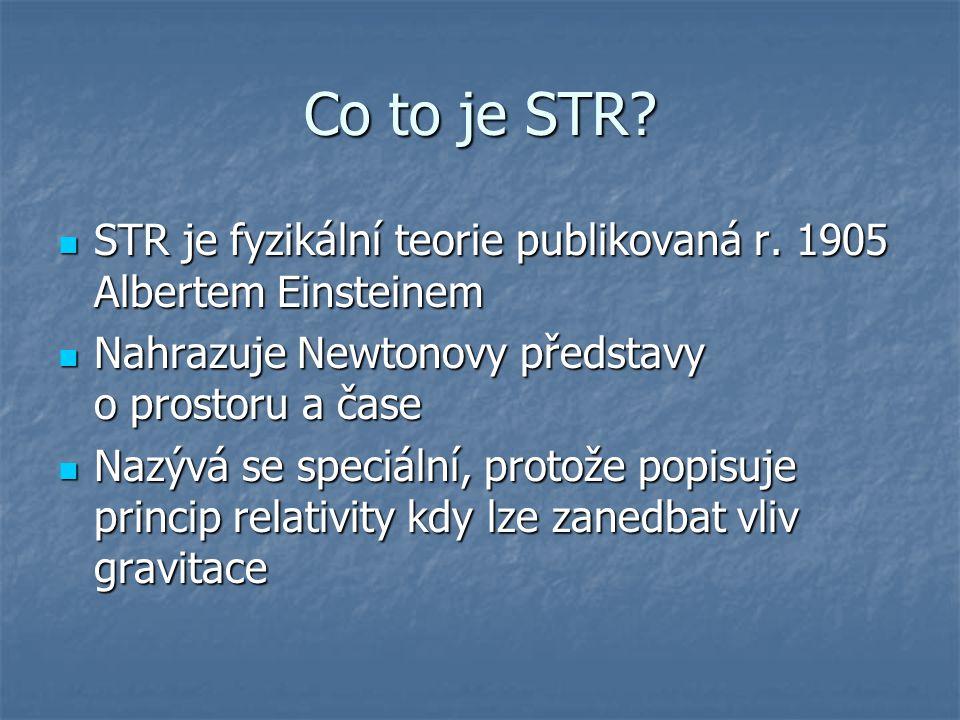 Co to je STR? STR je fyzikální teorie publikovaná r. 1905 Albertem Einsteinem STR je fyzikální teorie publikovaná r. 1905 Albertem Einsteinem Nahrazuj