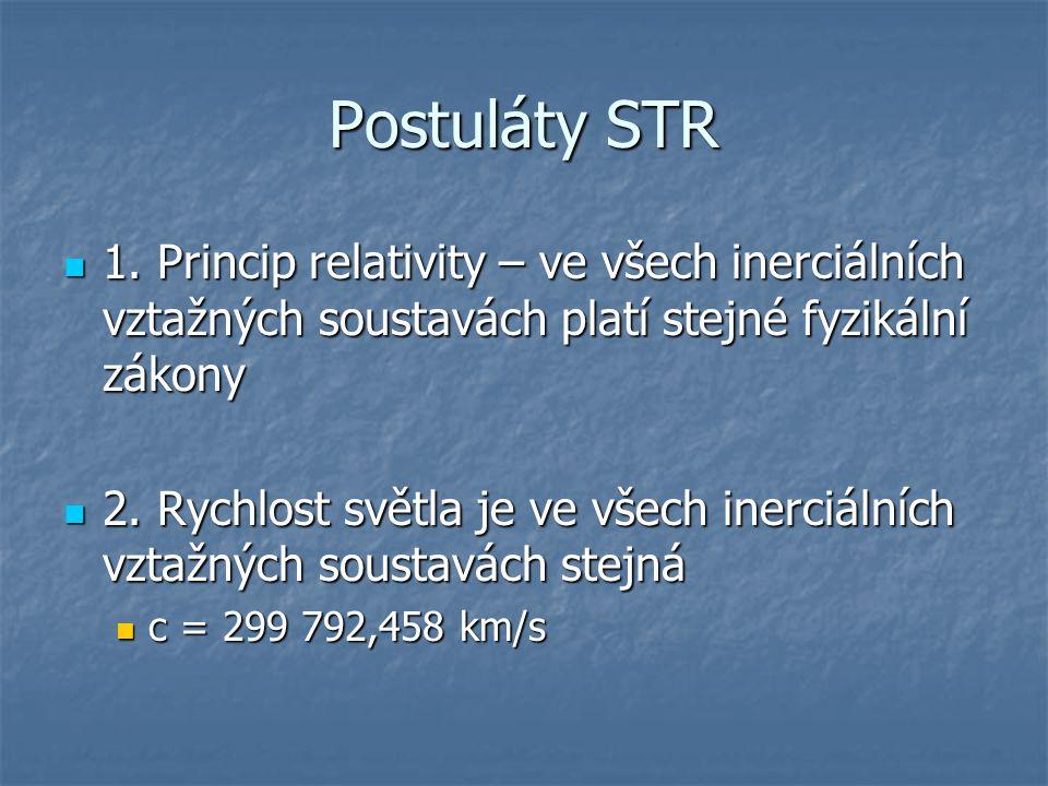Relativistická kinematika Popisuje pohyby objektů vzhledem k pohybujícím se inerciálním vztažným soustavám pro rychlosti menší nebo rovny rychlosti světla Popisuje pohyby objektů vzhledem k pohybujícím se inerciálním vztažným soustavám pro rychlosti menší nebo rovny rychlosti světla Relativnost současnosti, dilatace času, kontrakce délky, relativistické skládání rychlostí Relativnost současnosti, dilatace času, kontrakce délky, relativistické skládání rychlostí