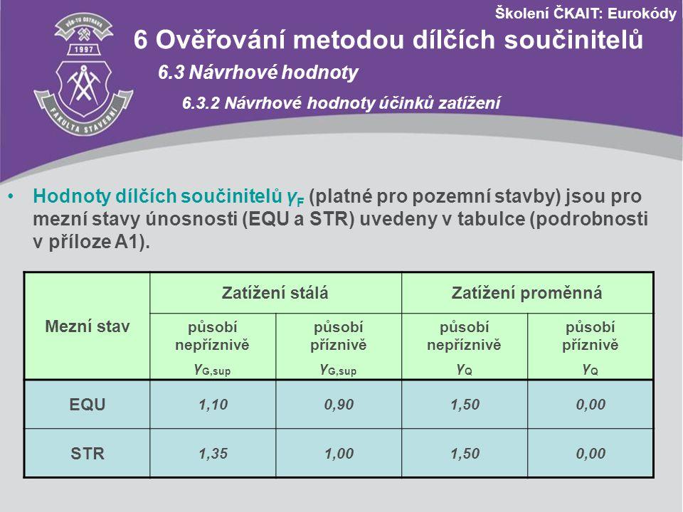 Školení ČKAIT: Eurokódy 6 Ověřování metodou dílčích součinitelů 6.3 Návrhové hodnoty 6.3.2 Návrhové hodnoty účinků zatížení Hodnoty dílčích součinitel