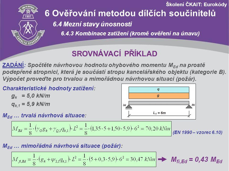 Školení ČKAIT: Eurokódy 6 Ověřování metodou dílčích součinitelů 6.4 Mezní stavy únosnosti 6.4.3 Kombinace zatížení (kromě ověření na únavu) SROVNÁVACÍ
