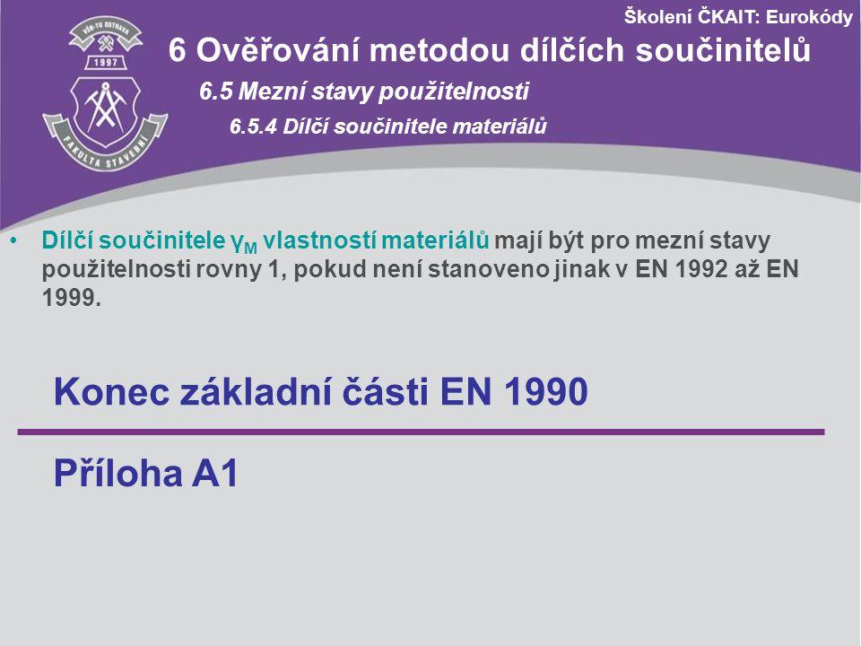 Školení ČKAIT: Eurokódy 6 Ověřování metodou dílčích součinitelů 6.5 Mezní stavy použitelnosti 6.5.4 Dílčí součinitele materiálů Dílčí součinitele γ M