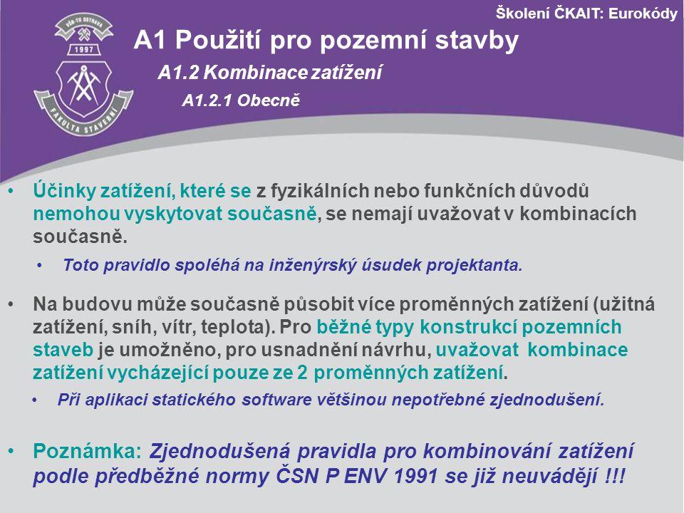 Školení ČKAIT: Eurokódy A1 Použití pro pozemní stavby A1.2 Kombinace zatížení A1.2.1 Obecně Účinky zatížení, které se z fyzikálních nebo funkčních dův
