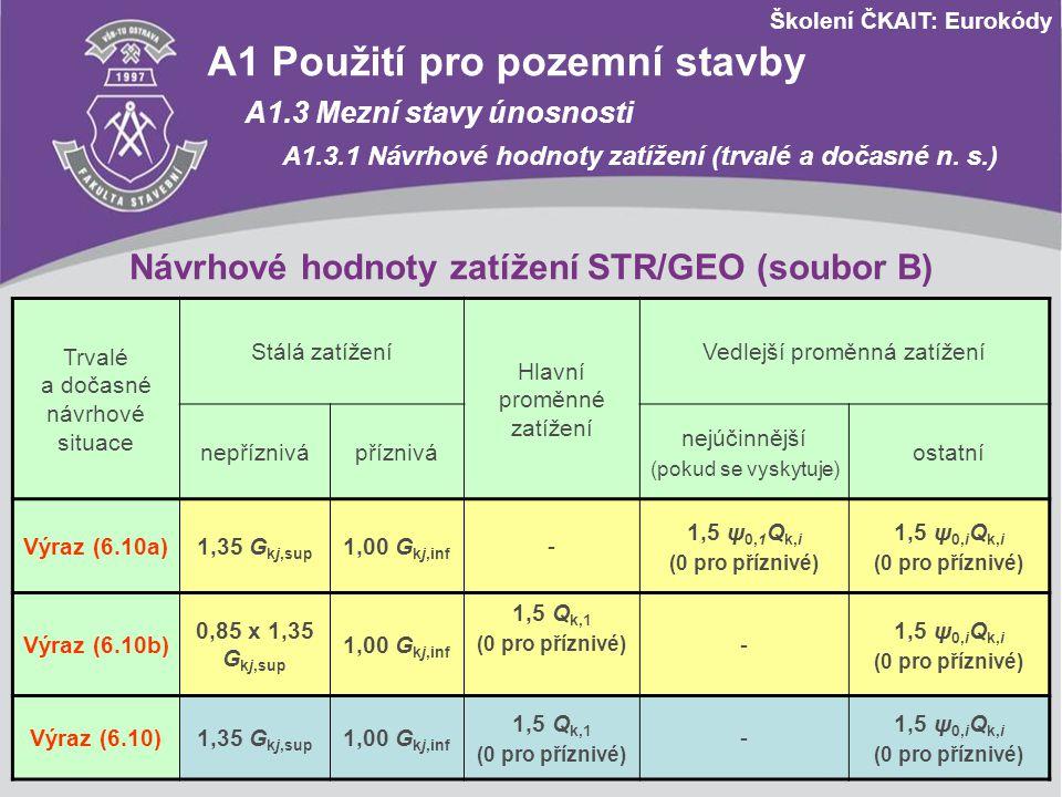 Školení ČKAIT: Eurokódy Návrhové hodnoty zatížení STR/GEO (soubor B) Trvalé a dočasné návrhové situace Stálá zatížení Hlavní proměnné zatížení Vedlejš
