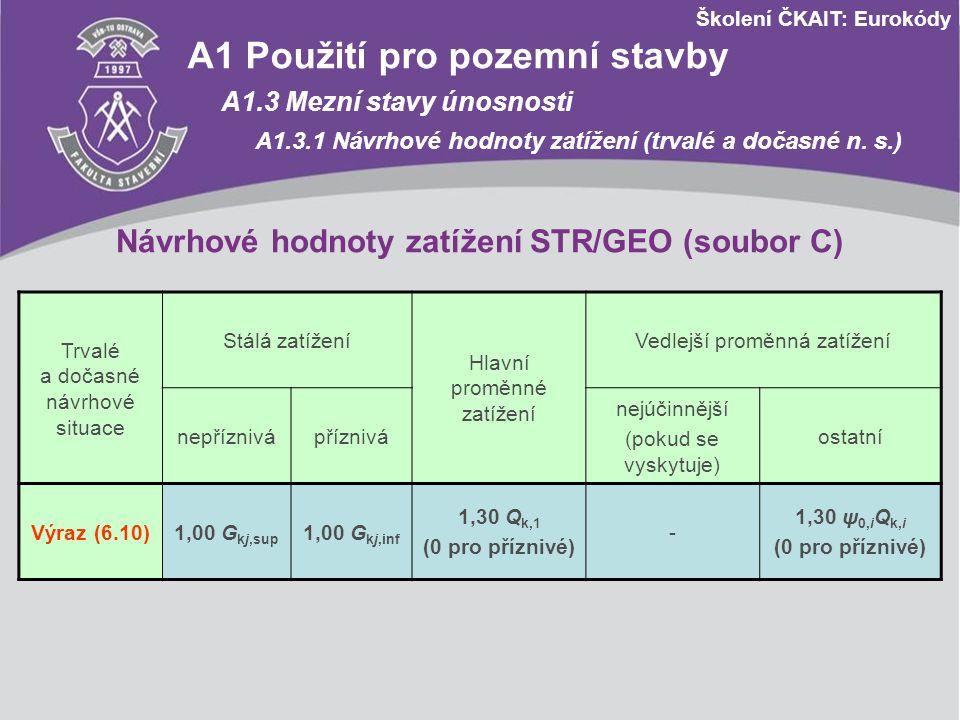 Školení ČKAIT: Eurokódy Návrhové hodnoty zatížení STR/GEO (soubor C) Trvalé a dočasné návrhové situace Stálá zatížení Hlavní proměnné zatížení Vedlejš