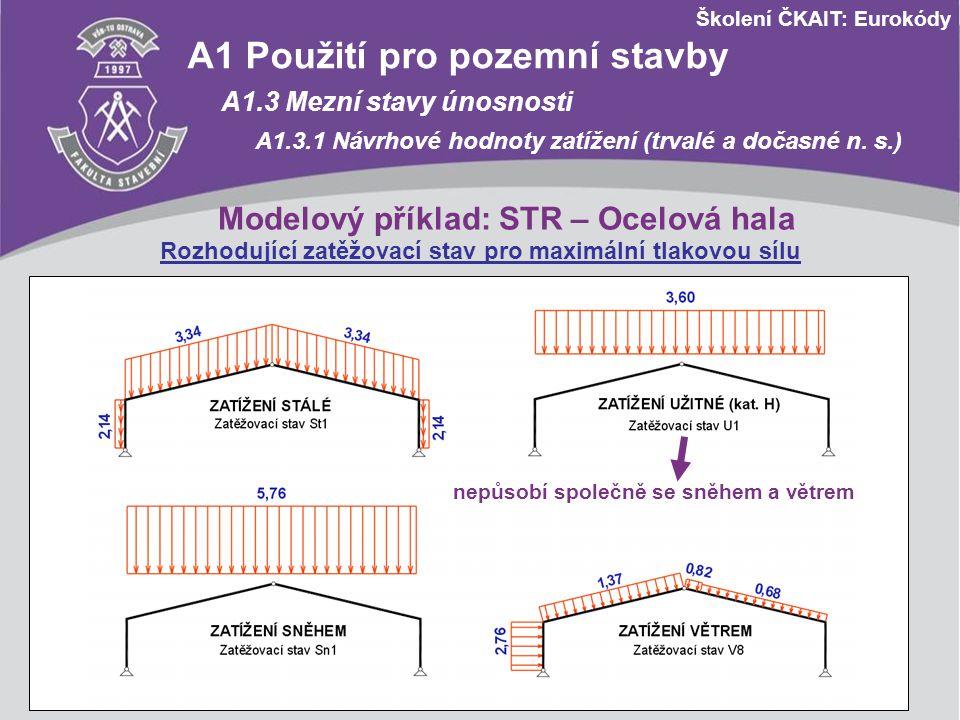 Školení ČKAIT: Eurokódy A1 Použití pro pozemní stavby A1.3 Mezní stavy únosnosti A1.3.1 Návrhové hodnoty zatížení (trvalé a dočasné n. s.) Modelový př