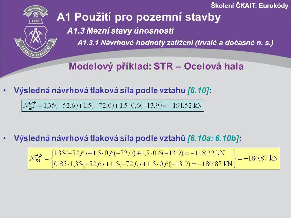 Školení ČKAIT: Eurokódy Modelový příklad: STR – Ocelová hala A1 Použití pro pozemní stavby A1.3 Mezní stavy únosnosti A1.3.1 Návrhové hodnoty zatížení