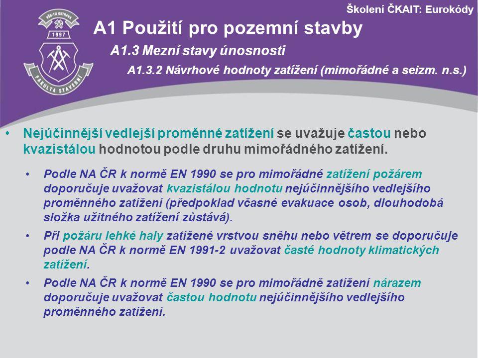Školení ČKAIT: Eurokódy A1 Použití pro pozemní stavby A1.3 Mezní stavy únosnosti A1.3.2 Návrhové hodnoty zatížení (mimořádné a seizm. n.s.) Nejúčinněj