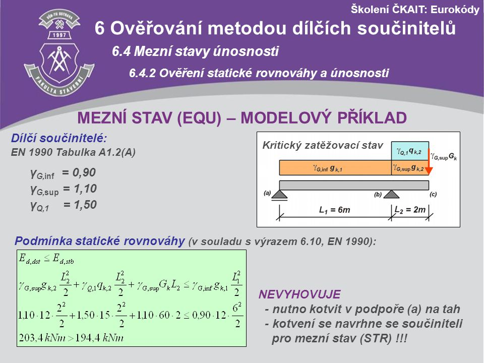 Školení ČKAIT: Eurokódy 6 Ověřování metodou dílčích součinitelů 6.5 Mezní stavy použitelnosti 6.5.3 Kombinace zatížení Obecný vztah: Častá kombinace Častou kombinaci podle předchozího vztahu lze vyjádřit výrazem: Poznámka 1: Dílčí součinitele zatížení γ F jsou rovny 1,00.