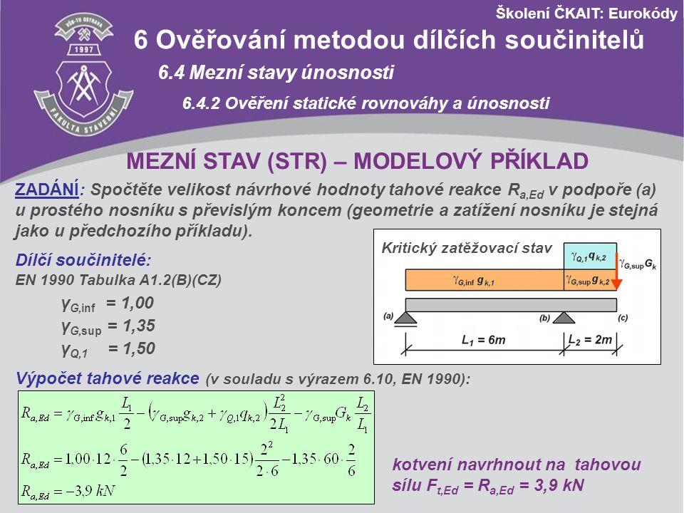 Školení ČKAIT: Eurokódy A1 Použití pro pozemní stavby A1.4 Mezní stavy použitelnosti A1.4.1 Návrhové hodnoty zatížení v kombinacích zatížení Kombinace Stálá zatížení G d Proměnná zatížení Q d nepříznivápřízniváhlavnívedlejší Charakteristická Výraz (6.14a/b) G kj,sup G kj,inf Q k,1 ψ 0,i Q k,i Častá Výraz (6.15a/b) G kj,sup G kj,inf Ψ 1,1 Q k,1 ψ 2,i Q k,i Kvazistálá Výraz (6.15a/b) G kj,sup G kj,inf Ψ 2,1 Q k,1 ψ 2,i Q k,i MSP - Návrhové hodnoty zatížení v kombinacích zatížení Poznámka: Dílčí součinitele zatížení γ F jsou pro MSP rovny 1,00.