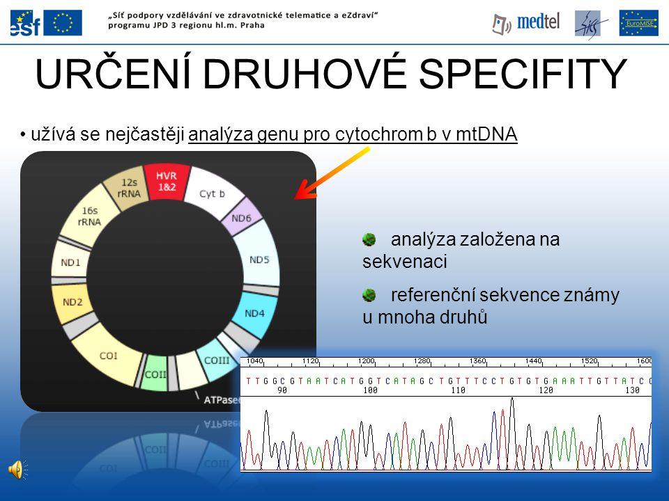 URČENÍ DRUHOVÉ SPECIFITY užívá se nejčastěji analýza genu pro cytochrom b v mtDNA analýza založena na sekvenaci referenční sekvence známy u mnoha druh