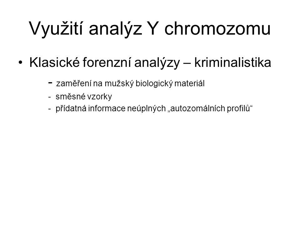 """Využití analýz Y chromozomu Klasické forenzní analýzy – kriminalistika - zaměření na mužský biologický materiál - směsné vzorky - přídatná informace neúplných """"autozomálních profilů"""