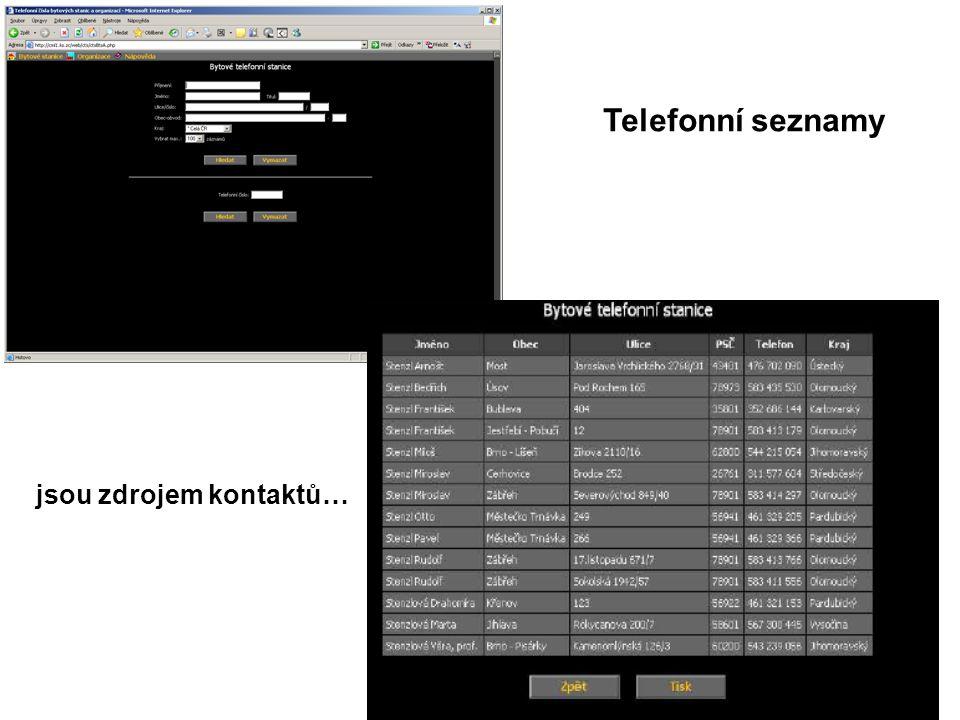 Telefonní seznamy jsou zdrojem kontaktů…