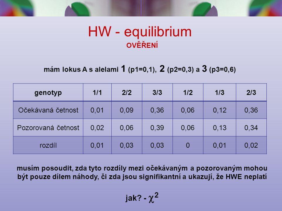 HW - equilibrium OVĚŘENÍ mám lokus A s alelami 1 (p1=0,1), 2 (p2=0,3) a 3 (p3=0,6) genotyp1/12/23/31/21/32/3 Očekávaná četnost0,010,090,360,060,120,36 Pozorovaná četnost0,020,060,390,060,130,34 rozdíl0,010,03 00,010,02 musím posoudit, zda tyto rozdíly mezi očekávaným a pozorovaným mohou být pouze dílem náhody, či zda jsou signifikantní a ukazují, že HWE neplatí jak.
