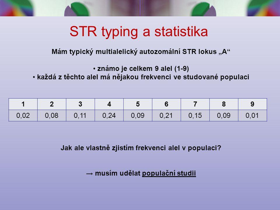 """STR typing a statistika 123456789 0,020,080,110,240,090,210,150,090,01 Mám typický multialelický autozomální STR lokus """"A známo je celkem 9 alel (1-9) každá z těchto alel má nějakou frekvenci ve studované populaci Jak ale vlastně zjistím frekvenci alel v populaci."""