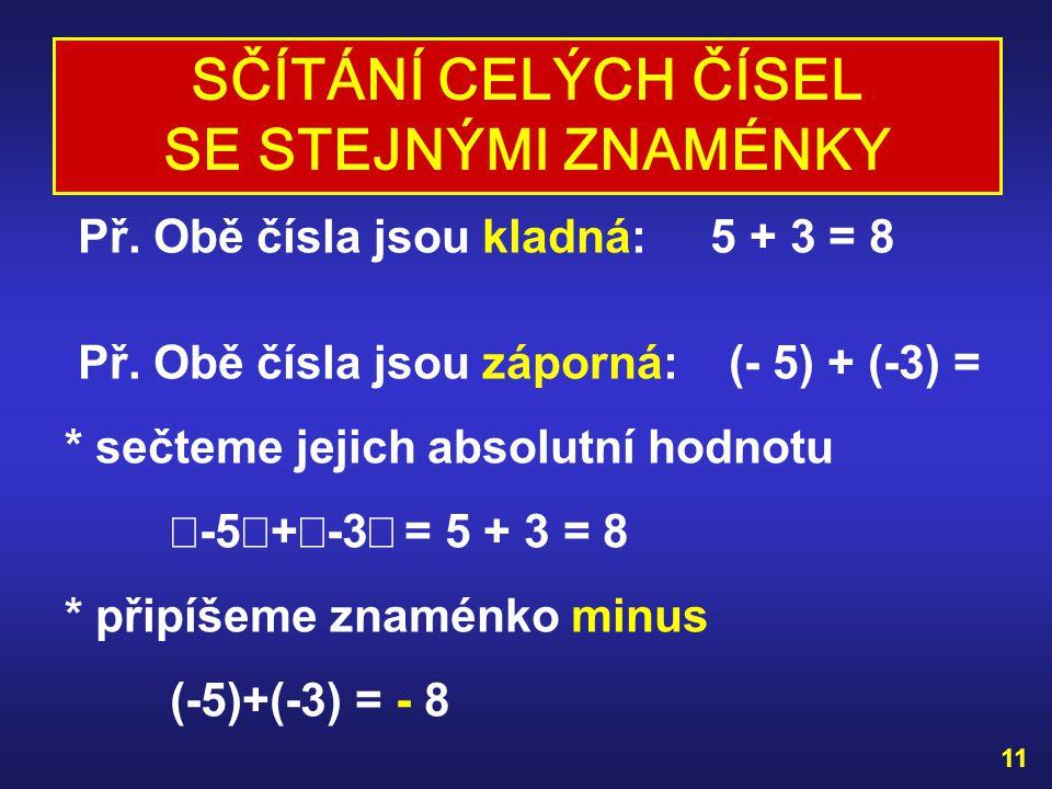 VYZKOUŠEJ SI : Př. 0 + 8 = (-7) + 0 = 0 + (-12) = 0 + 0 = ŘEŠENÍ: 0 + 8 = 8 (-7) + 0 = -7 0 + (-12) = -12 0 + 0 = 0 10