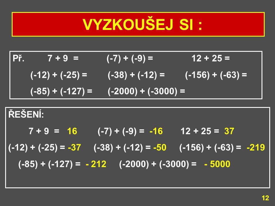 11 SČÍTÁNÍ CELÝCH ČÍSEL SE STEJNÝMI ZNAMÉNKY Př. Obě čísla jsou kladná: 5 + 3 = 8 Př. Obě čísla jsou záporná: (- 5) + (-3) = * sečteme jejich absolutn