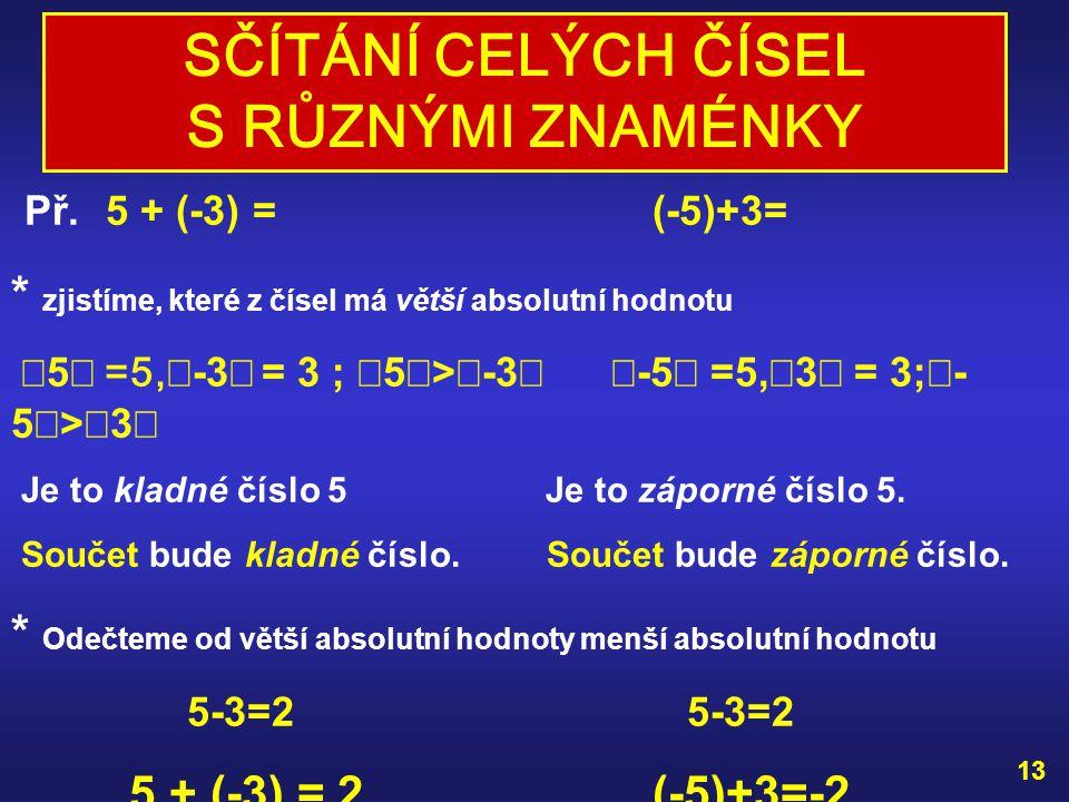 VYZKOUŠEJ SI : Př. 7 + 9 = (-7) + (-9) = 12 + 25 = (-12) + (-25) = (-38) + (-12) = (-156) + (-63) = (-85) + (-127) = (-2000) + (-3000) = 12 ŘEŠENÍ: 7