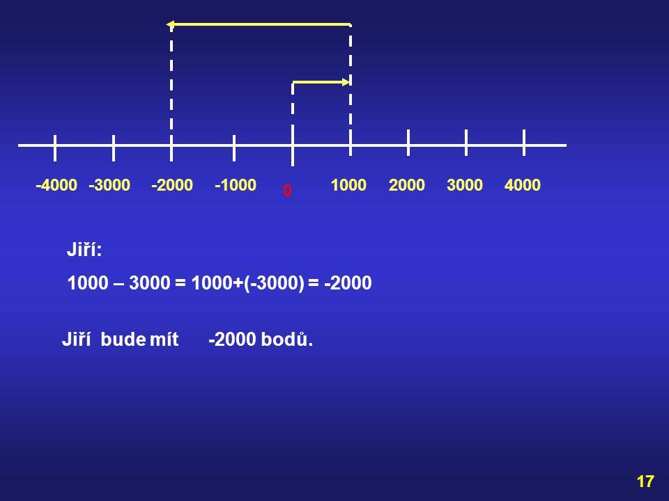 ODČÍTÁNÍ CELÝCH ČÍSEL Př. V soutěži Riskuj měl Karel 3000 bodů. Za špatnou odpověď se mu odečetlo 2000 bodů. Jiří měl 1000 bodů a za nesprávnou odpově