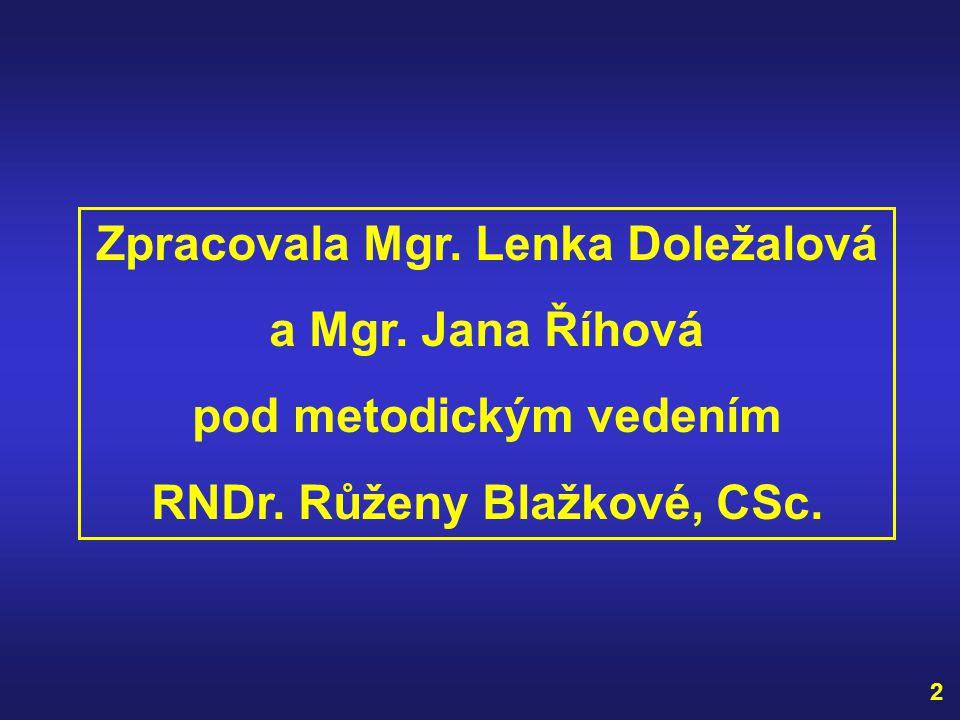 Zpracovala Mgr.Lenka Doležalová a Mgr. Jana Říhová pod metodickým vedením RNDr.