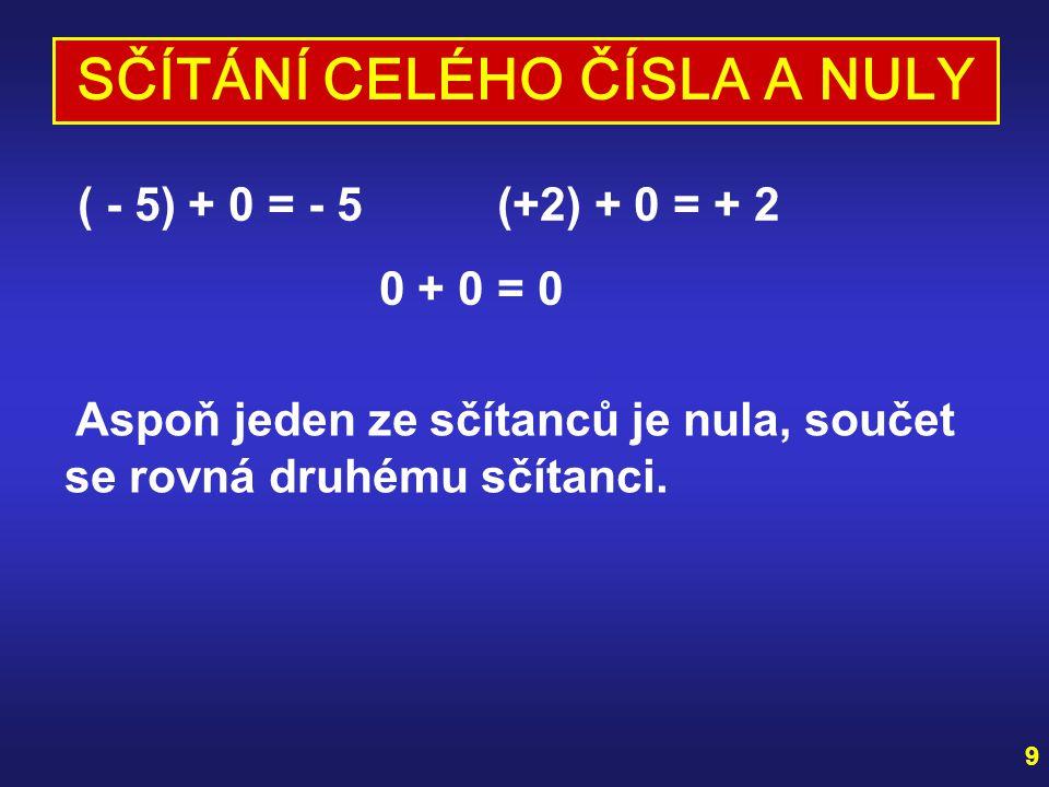 9 SČÍTÁNÍ CELÉHO ČÍSLA A NULY ( - 5) + 0 = - 5 (+2) + 0 = + 2 0 + 0 = 0 Aspoň jeden ze sčítanců je nula, součet se rovná druhému sčítanci.