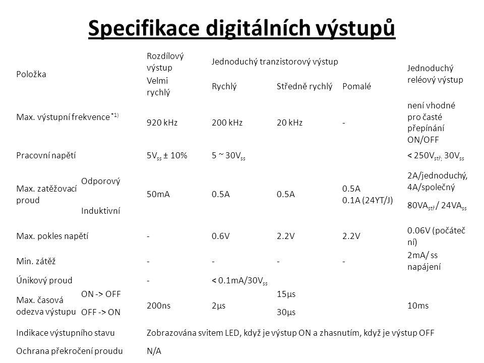 Specifikace digitálních výstupů Položka Rozdílový výstup Jednoduchý tranzistorový výstup Jednoduchý reléový výstup Velmi rychlý RychlýStředně rychlýPomalé Max.