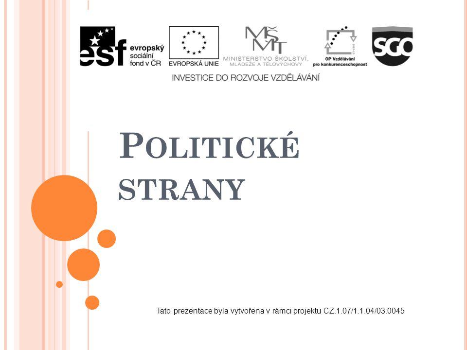 P OLITICKÉ STRANY Tato prezentace byla vytvořena v rámci projektu CZ.1.07/1.1.04/03.0045